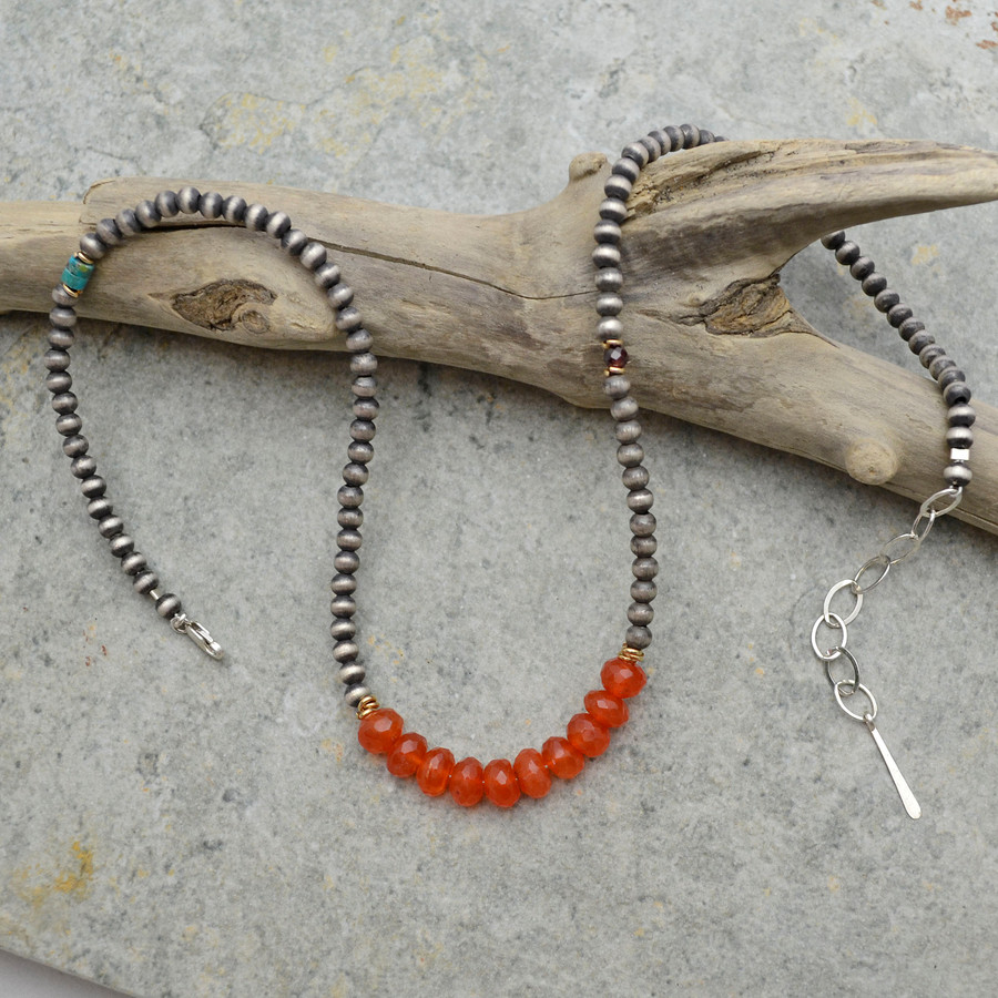 Accented Carnelian Brushed Sterling Necklace