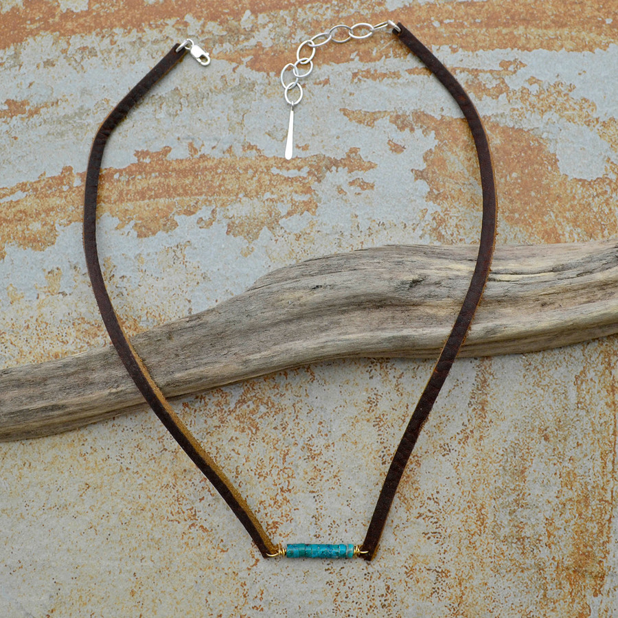 Marbled Turquoise Leather Necklace