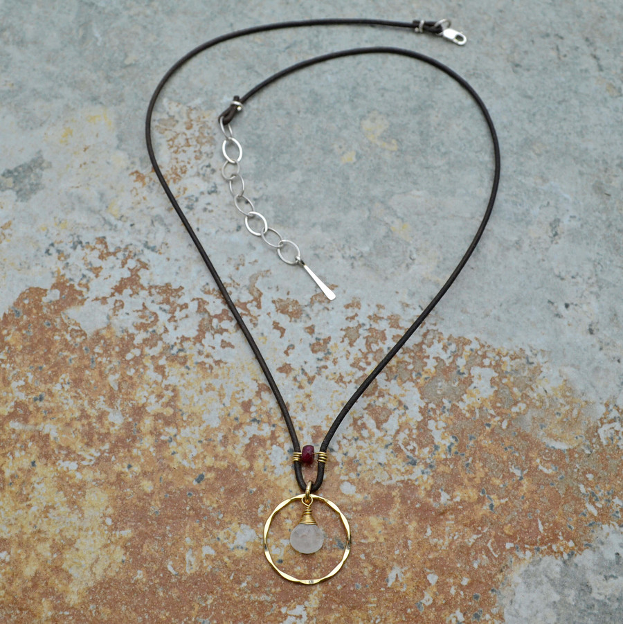 Haloed Moonstone and Garnet Leather Necklace