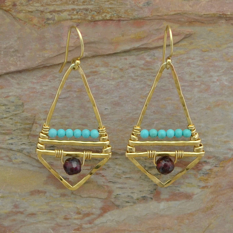 Geometric Gold, Garnet, and Turquoise Earrings
