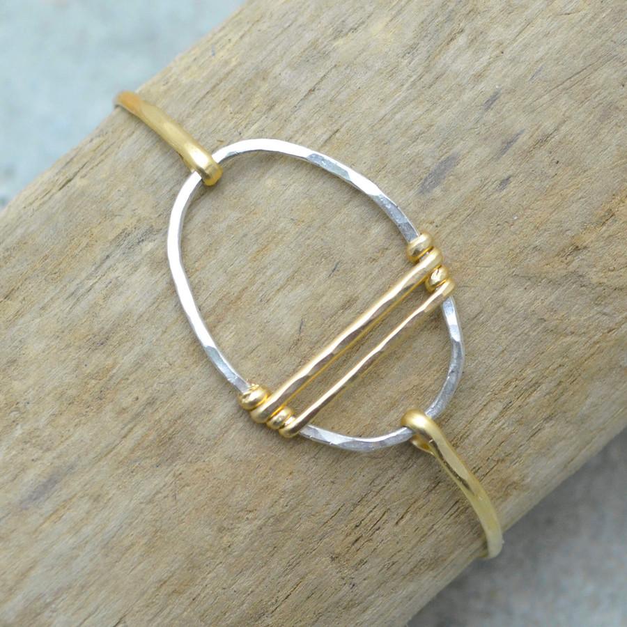 Traversing Gold Sterling Circle Bracelet