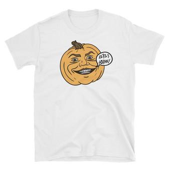 White Halloween Jack-O-Latern and The Shining's Jack Nicholson Mashup Unisex T-Shirt