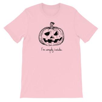 Pink I'm Empty Inside Jack-o-Latern Halloween Pumpkin Unisex T-Shirt