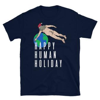 Navy Blue Rick and Morty Christmas Ruben Santa Happy Human Holiday Dead Body Over Earth T-Shirt