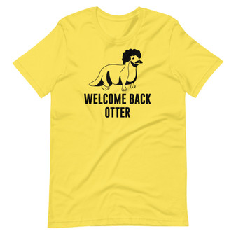 Bright Yellow Solar Opposites Terry's Welcome Back Otter T-Shirt from The Booster Manifold Episode Welcome Back Kotter Joke Otter with Afro and Mustache