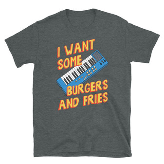 Dark Heather Grey Bob's Burgers I Want Some Burgers And Fries Gene Song Straw Solo With Gene Keyboard T-Shirt