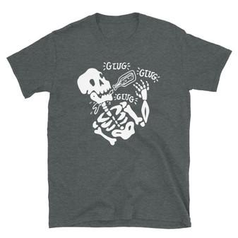 Dark Heather Grey Halloween Drinking Joke - I Don't Feel It Drunk Skeleton - Heavy Drinker Gift Horror Fan T-Shirt