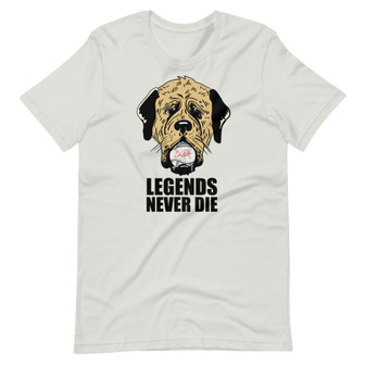 Light Grey The Sandlot - Heroes Are Remembered Legend Never Die Hercules with Drool-Covered Babe Ruth Baseball T-Shirt