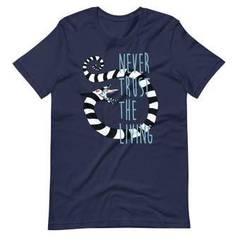 Navy Blue Beetlejuice Movie Betelgeuse - Never Trust The Living Sandworm Tim Burton Horror T-shirt