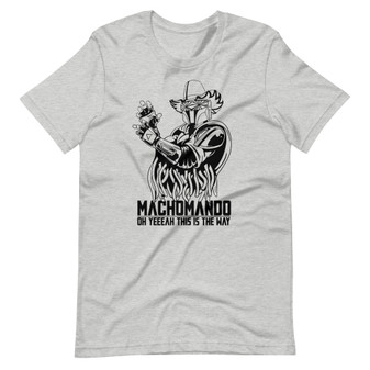 "Grey Mandalorian and WWE Randy Savage Macho Man Mashup ""MachoMando - Oh Yeah This Is The Way"" Pro-Wrestling and Star Wars Fandom T-Shirt"