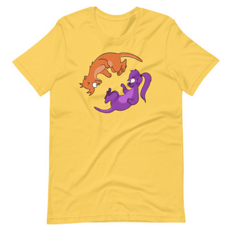 Yellow Futurama T-shirt Parasites Lost Fry and Leela Otter Holophonor Dance Love Out Of The World T-Shirt