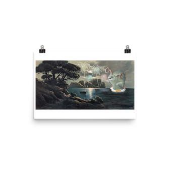 """Small Upcycled Thrift Store Art - """"OooOhh!"""" Fireworks Horned Ocean Monster On Unicorn Floaty Whimsy Artwork"""