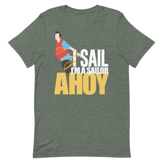 Heather Green What About Bob? Bill Murray - I Sail! I'm A Sailor! AHOY! Bob Wiley Tied Up Sailing T-Shirt