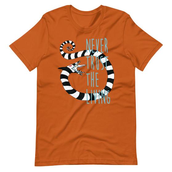 Dark Orange Beetlejuice Movie Betelgeuse - Never Trust The Living Sandworm Tim Burton Horror T-shirt