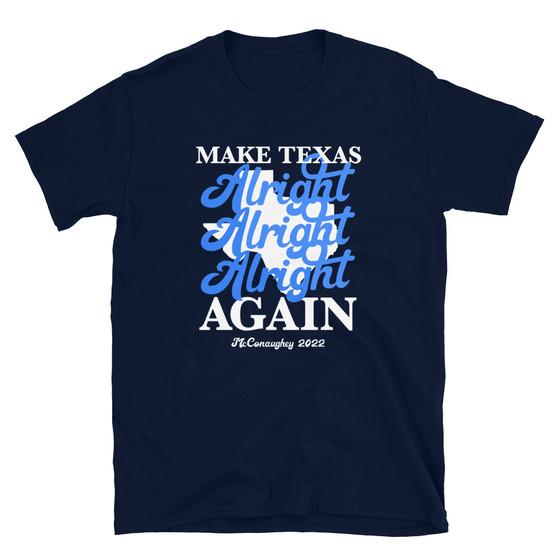 Blue Matthew McConaughey For Texas Governor - Make Texas Alright Alright Alright Again 2022 T-Shirt