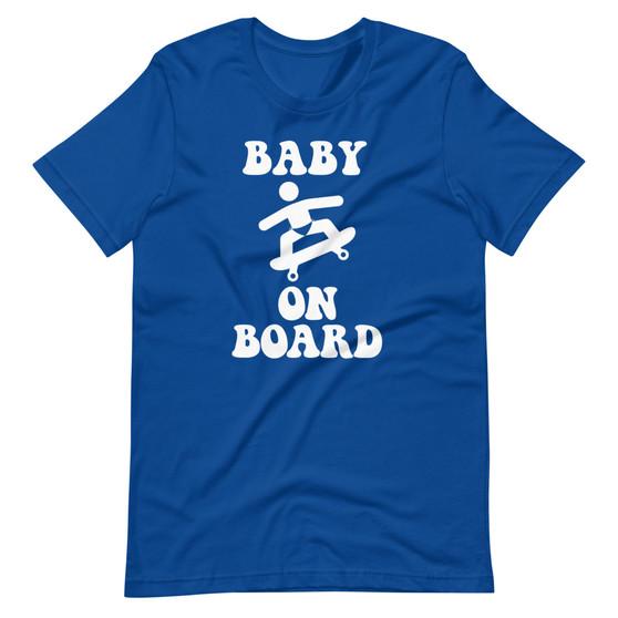Blue Solar Opposites- Baby On Board Skateboard Joke Pregnant Skateboarder T-Shirt
