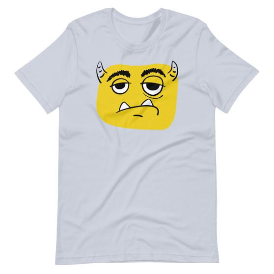 Light Blue Grumpy Gus Meh Unimpressed Cartoon Monster Alien Kids Cartoon T-Shirt
