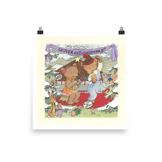 Small South Park Inspired Woodland Critter Christmas Antichrist Birth Bunny Sacrifice Blood Orgy Upcycled Thrift Store Art Print