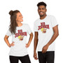 """Man and Woman Wearing Rick and Morty Inspired """"Big Johnson"""" Hemorrhage Unisex T-Shirt"""
