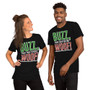 Man and Woman Wearing Home Alone Inspired Christmas Buzz, Your Girlfriend WOOF! Red and Green T-Shirt