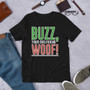 Lifestyle Mockup Home Alone Inspired Christmas Buzz, Your Girlfriend WOOF! Red and Green T-Shirt