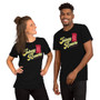 Man and Woman Wearing Razor Blade Candy Halloween Candy with Razor Blade Jole - Johnny Razors A Totally Normal Candy Shop T-Shirt