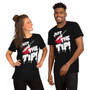 Man and Woman Wearing Friday the 13th Halloween Murder Joke - Just The Tip Bloody Butcher Knife Horror Fan T-Shirt