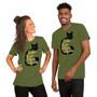 Man and Woman Wearing Hocus Pocus Movie Black Cat Spell - Itchita Kopita Melaka Mystica with Binx Sanderson Sisters Spellbook T-Shirt Halloween Black Cat