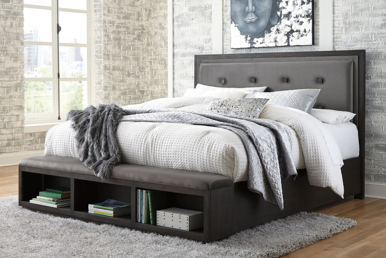 Picture of: Hyndell Dark Brown California King Upholstered Panel Bed With Storage On Sale At American Furniture Of Slidell Serving Slidell La