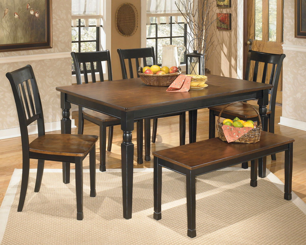 Owingsville Black Brown 6 Pc Rectangular Table 4 Side Chairs Bench On Sale At American Furniture Of Slidell Serving Slidell La