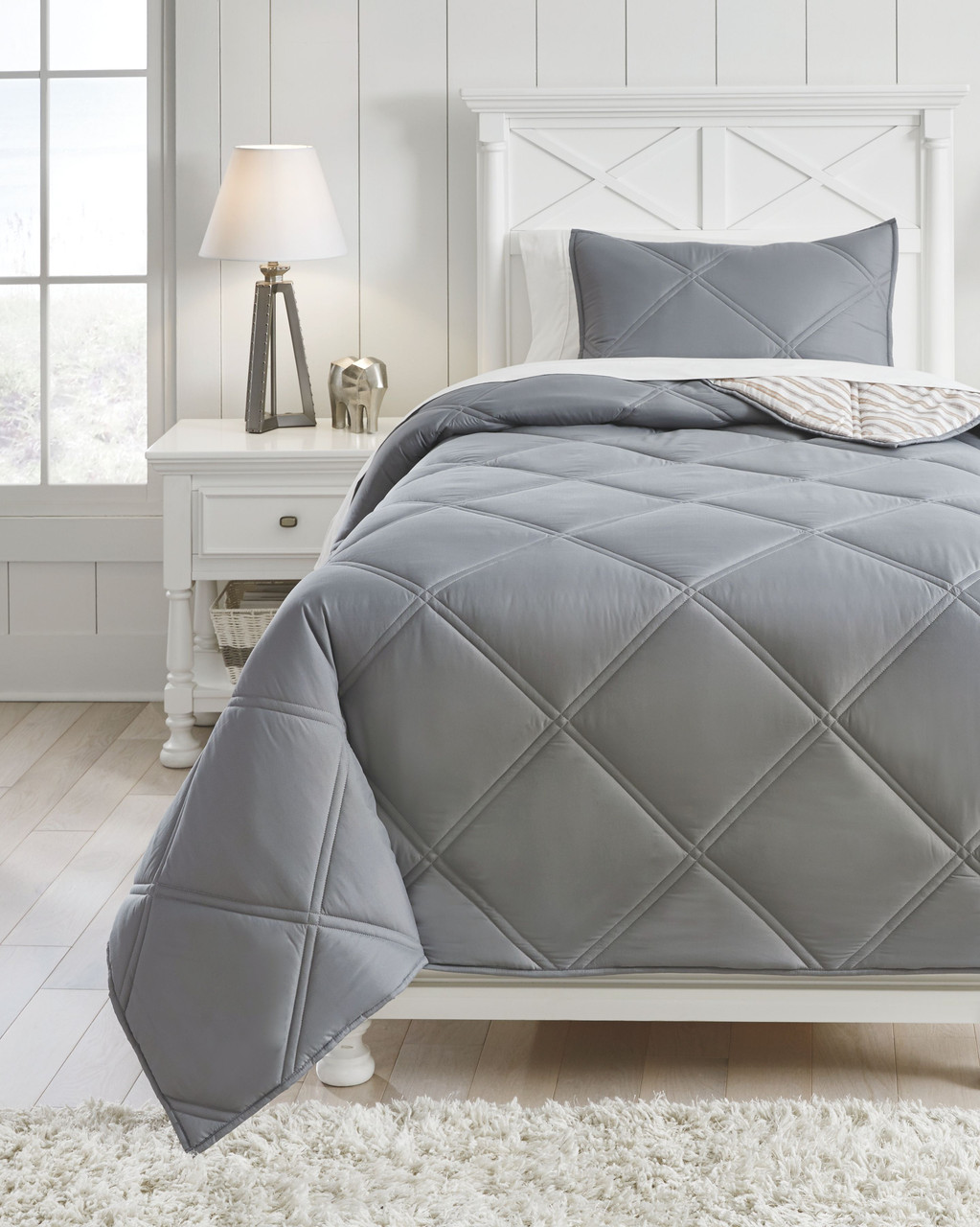 Rhey Tan Brown Gray Twin Comforter Set On Sale At American Furniture Of Slidell Serving Slidell La