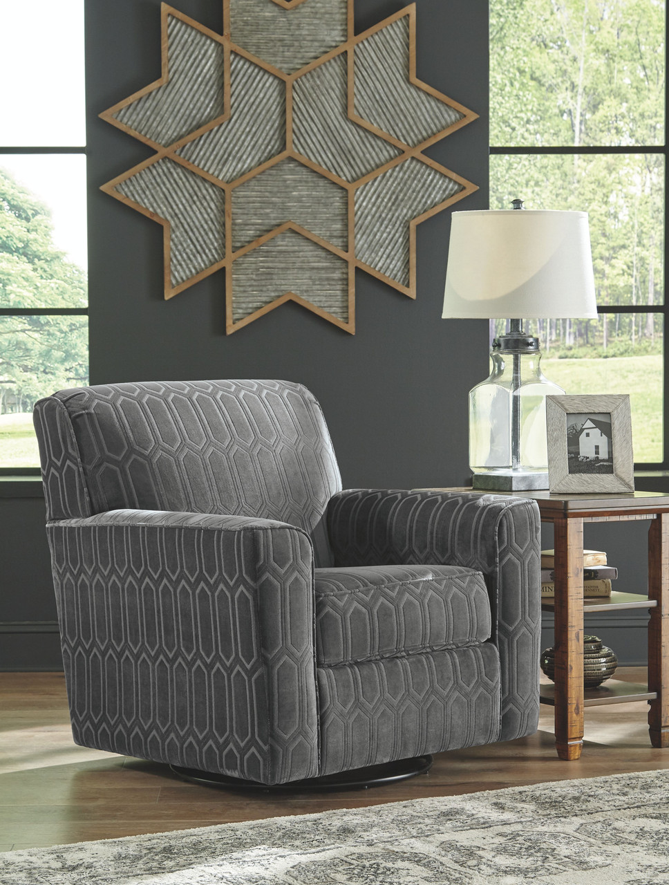Zarina Graphite Swivel Accent Chair On Sale At American Furniture Of Slidell Serving La