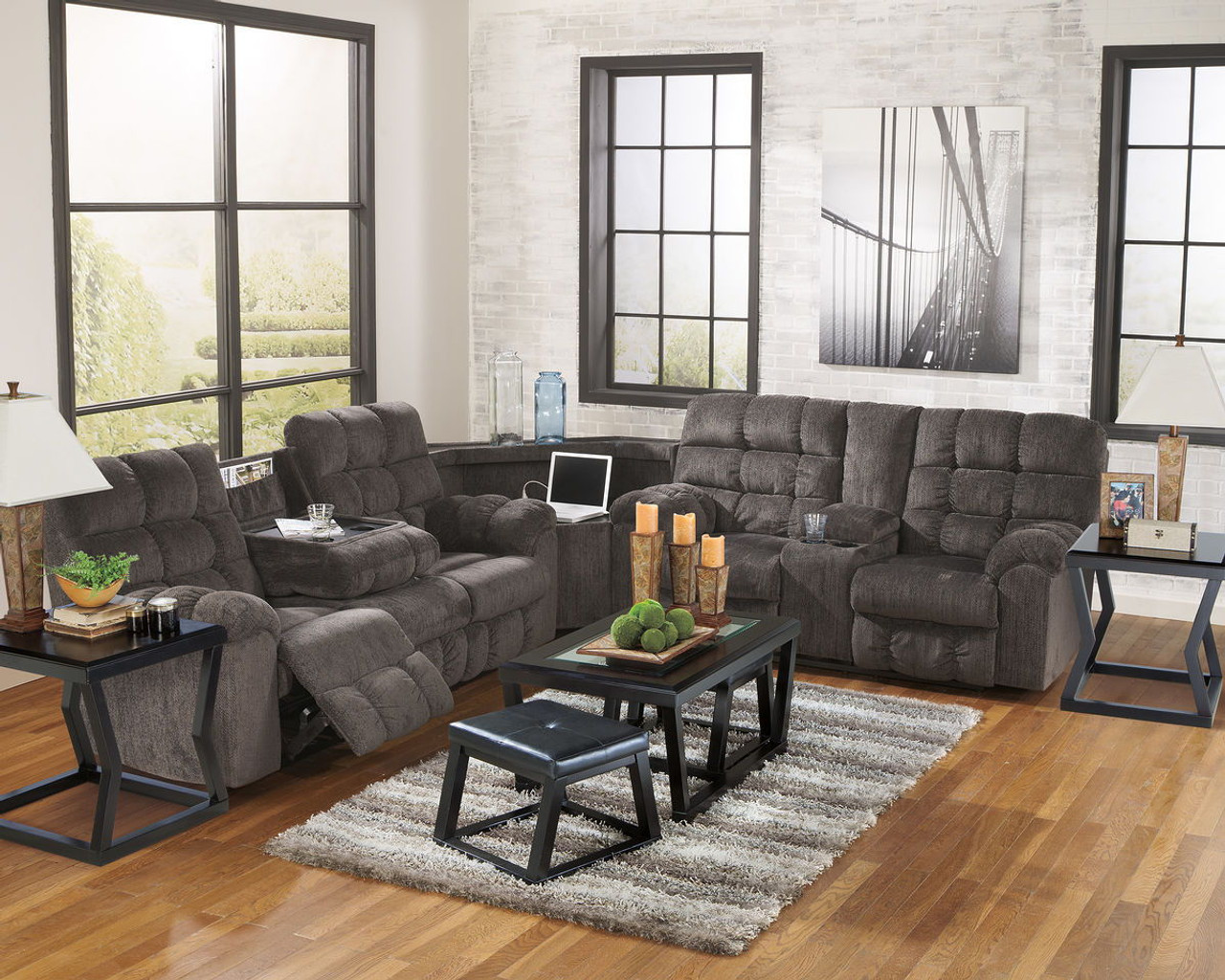 Picture of: Acieona Slate Reclining Sofa With Drop Down Table Wedge Double Rec Loveseat With Console Sectional On Sale At American Furniture Of Slidell Serving Slidell La