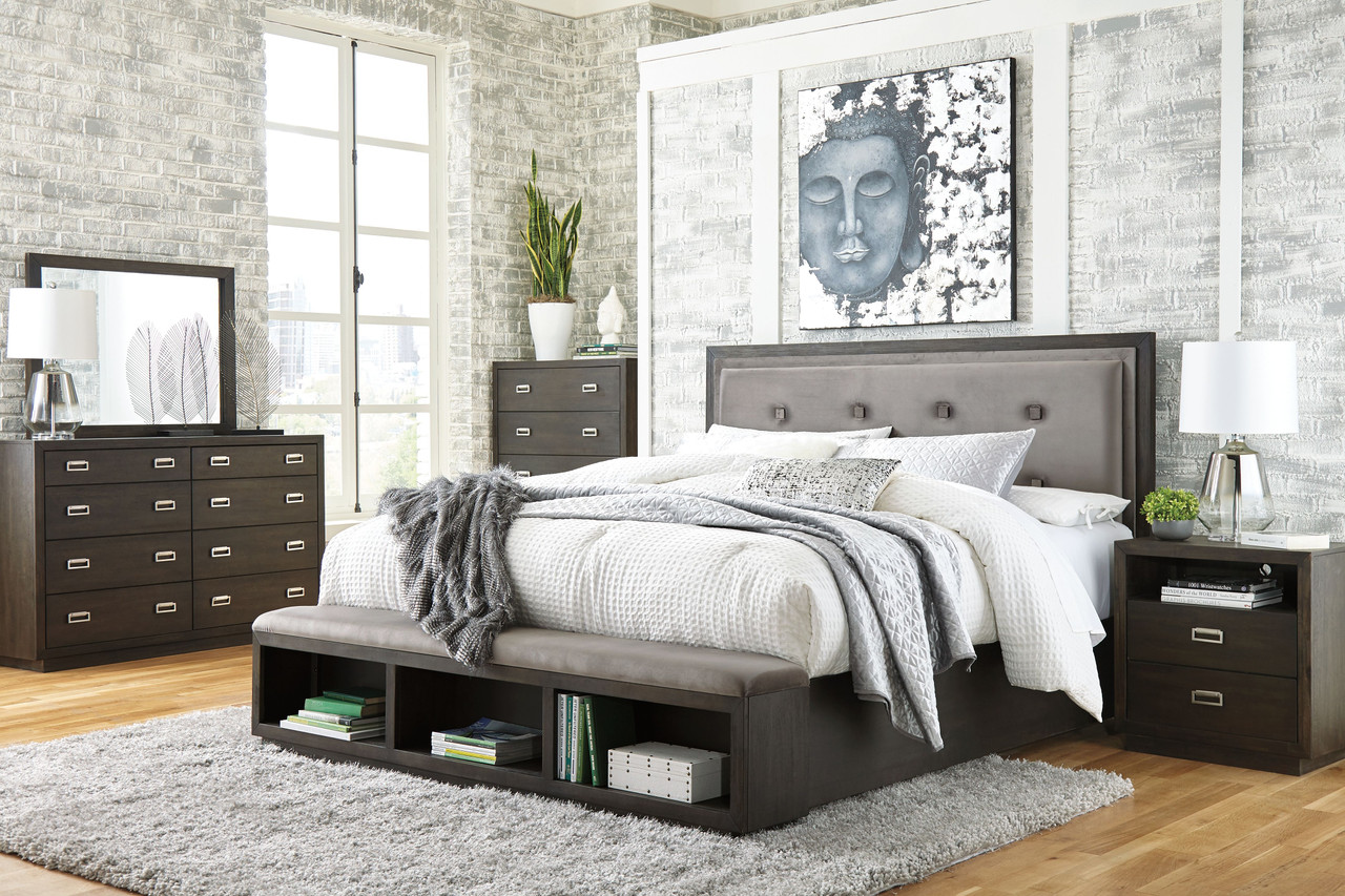Hyndell Dark Brown 6 Pc Dresser Mirror King Upholstered Panel Bed With Storage 2 Nightstands On Sale At American Furniture Of Slidell Serving Slidell La