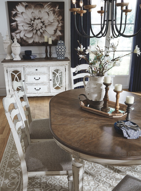 Realyn Chipped White Oval Dining Room Extension Table On Sale At American Furniture Of Slidell Serving Slidell La