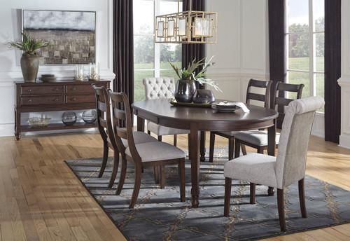 Charmond Brown 8 Pc Rectangular Extension Table 6 Upholstered Side Chairs On Sale At American Furniture Of Slidell Serving Slidell La