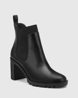 Purcell Black Leather Block Heel Ankle Boot.