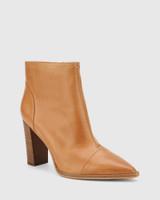 Horatia Tan Leather Block Heel Ankle Boot.