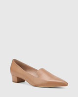 Atkins Cappuccino Leather Pointed Toe Low Block Heel Loafer.