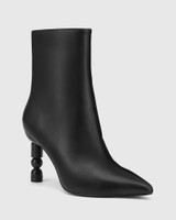 Hanalee Black Leather Sculptured Heel Ankle Boot.