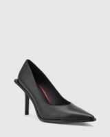 Haylen Black Leather Extended Heel Pointed Toe Pump.