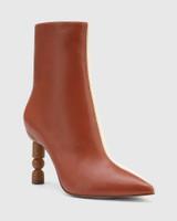 Hanalee Auburn & Buttercream Leather Sculptured Heel Ankle Boot.