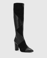 Hawn Black Patchwork Leather Block Heel Long Boot.