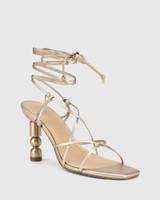 Rikita Tuscan Gold Leather Sculptured Heel Strappy Sandal.