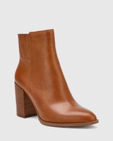 Handler Dark Cognac Leather Block Heel Ankle Boot.