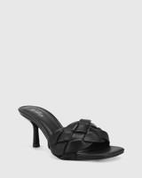 Combs Black Woven Leather Stiletto Heel Sandal.