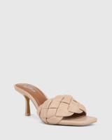 Combs New Flesh Woven Leather Stiletto Heel Sandal.