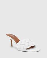 Combs White Woven Leather Stiletto Heel Sandal.