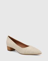 Armin Natural Linen Pointed Toe Low Block Heel.