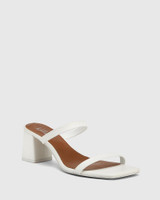 Kourtney White Leather Block Heel Sandal .